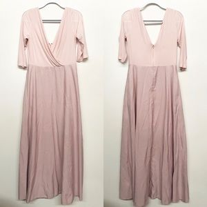 Alfred Sung Pink Maxi Gown Half Sleeve 12